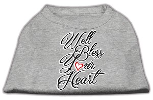 Well Bless Your Heart Screen Print Dog Shirt Grey XXL (18)