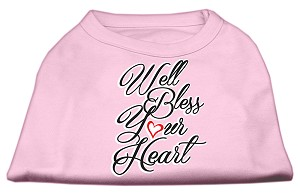 Well Bless Your Heart Screen Print Dog Shirt Light Pink XXL (18)