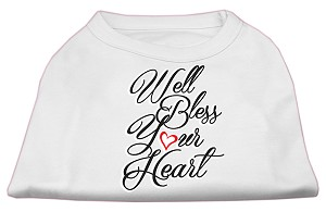Well Bless Your Heart Screen Print Dog Shirt White Lg (14)