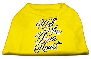 Well Bless Your Heart Screen Print Dog Shirt Yellow Lg (14)