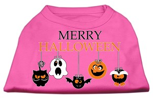 Merry Halloween Screen Print Dog Shirt Bright Pink XXXL (20)
