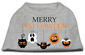 Merry Halloween Screen Print Dog Shirt Grey XS (8)