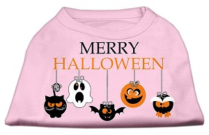Merry Halloween Screen Print Dog Shirt Light Pink Med (12)