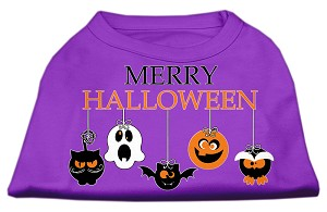 Merry Halloween Screen Print Dog Shirt Purple XL (16)
