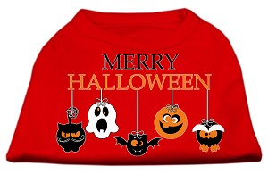 Merry Halloween Screen Print Dog Shirt Red Sm (10)