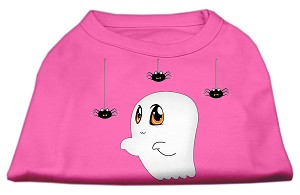 Sammy the Ghost Screen Print Dog Shirt Bright Pink Lg (14)