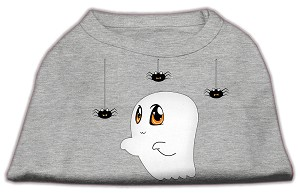 Sammy the Ghost Screen Print Dog Shirt Grey Lg (14)