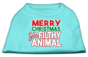 Ya Filthy Animal Screen Print Pet Shirt Aqua Lg (14)