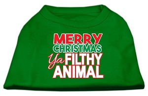 Ya Filthy Animal Screen Print Pet Shirt Emerald Green XS (8)