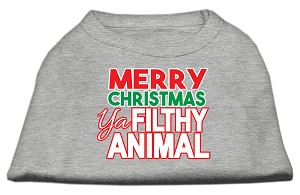 Ya Filthy Animal Screen Print Pet Shirt Grey XS (8)
