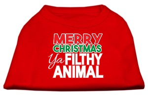 Ya Filthy Animal Screen Print Pet Shirt Red XL (16)