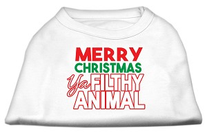 Ya Filthy Animal Screen Print Pet Shirt White XL (16)