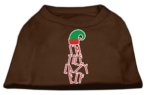 Lazy Elf Screen Print Pet Shirt Brown Lg (14)