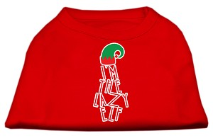 Lazy Elf Screen Print Pet Shirt Red Lg (14)