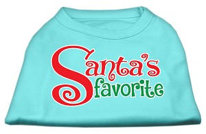 Santas Favorite Screen Print Pet Shirt Aqua XS (8)