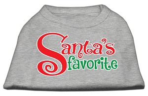 Santas Favorite Screen Print Pet Shirt Grey Med (12)