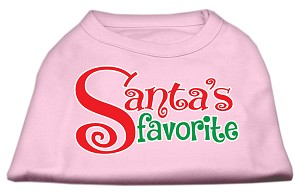 Santas Favorite Screen Print Pet Shirt Light Pink Lg (14)