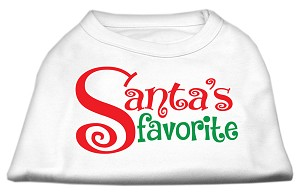 Santas Favorite Screen Print Pet Shirt White Med (12)