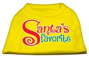 Santas Favorite Screen Print Pet Shirt Yellow XS (8)