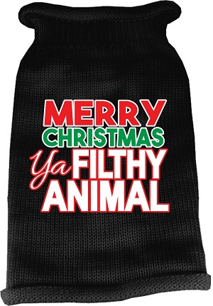 Ya Filthy Animal Screen Print Knit Pet Sweater Black Med (12)