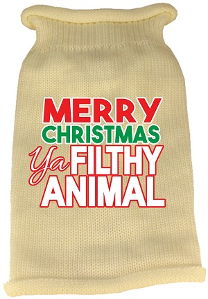 Ya Filthy Animal Screen Print Knit Pet Sweater Cream Med (12)
