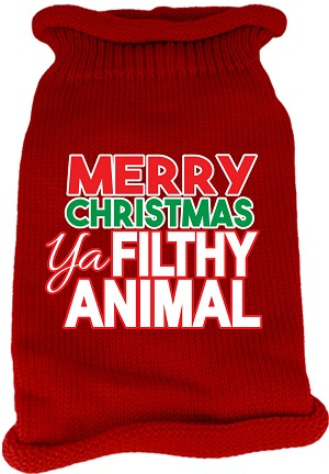 Ya Filthy Animal Screen Print Knit Pet Sweater Red Med (12)
