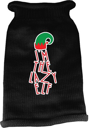 Lazy Elf Screen Print Knit Pet Sweater Black Lg (14)