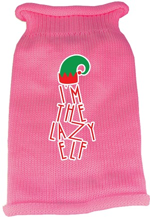 Lazy Elf Screen Print Knit Pet Sweater Light Pink XL (16)