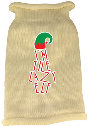 Lazy Elf Screen Print Knit Pet Sweater Cream Med (12)