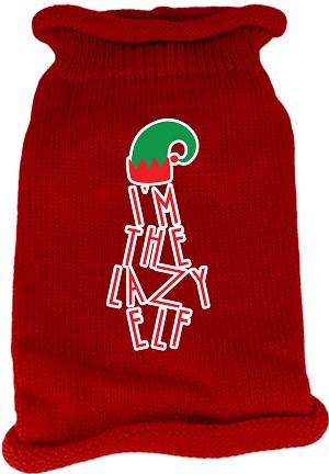 Lazy Elf Screen Print Knit Pet Sweater Red Lg (14)