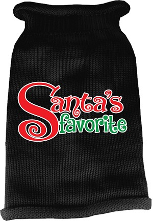 Santas Favorite Screen Print Knit Pet Sweater Black Sm (10)