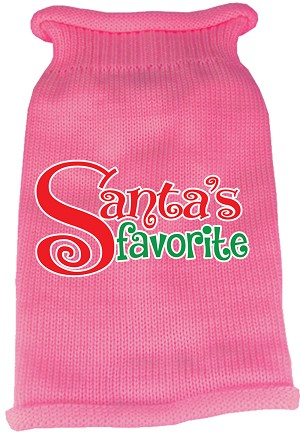 Santas Favorite Screen Print Knit Pet Sweater Light Pink XL (16)