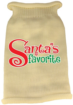 Santas Favorite Screen Print Knit Pet Sweater Cream Med (12)