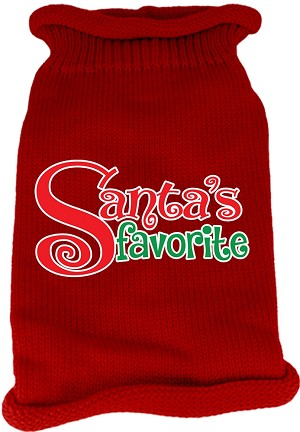 Santas Favorite Screen Print Knit Pet Sweater Red Med (12)