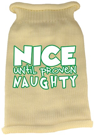 Nice until proven Naughty Screen Print Knit Pet Sweater Cream Med (12)