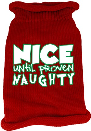 Nice until proven Naughty Screen Print Knit Pet Sweater Red Med (12)