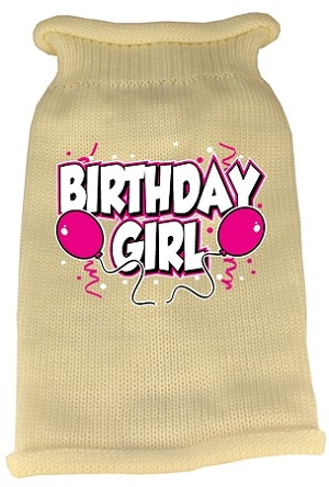 Birthday Girl Screen Print Knit Pet Sweater XL Cream