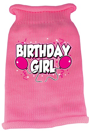 Birthday Girl Screen Print Knit Pet Sweater XL Pink