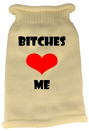 Bitches Love Me Screen Print Knit Pet Sweater XXL Cream