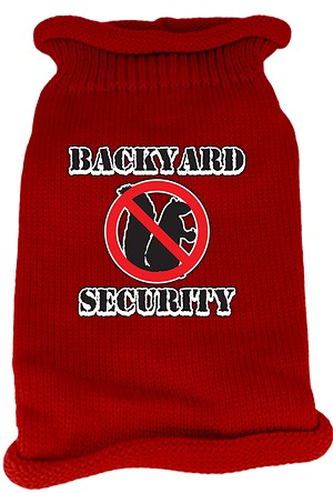 Back Yard Security Screen Print Knit Pet Sweater SM Red