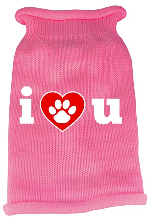 I Love You Screen Print Knit Pet Sweater XXL Pink