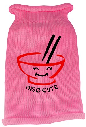 Miso Cute Screen Print Knit Pet Sweater LG Pink