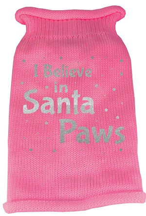 I Believe in Santa Paws Screen Print Knit Pet Sweater SM Pink