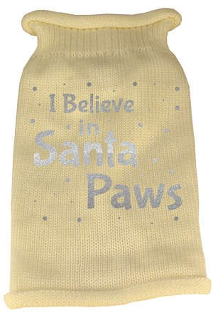 I Believe in Santa Paws Screen Print Knit Pet Sweater SM Cream