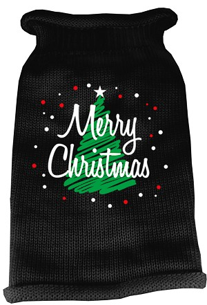 Scribbled Merry Christmas Screen Print Knit Pet Sweater XXL Black