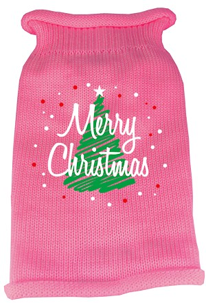 Scribbled Merry Christmas Screen Print Knit Pet Sweater XL Pink