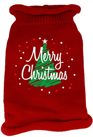 Scribbled Merry Christmas Screen Print Knit Pet Sweater SM Red
