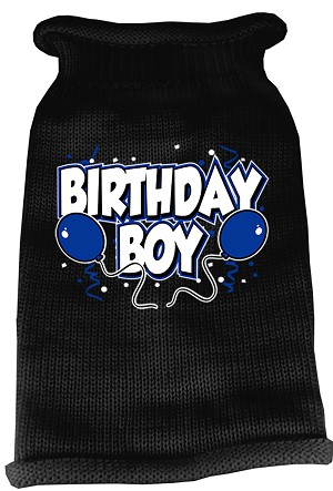 Birthday Boy Screen Print Knit Pet Sweater XXL Black