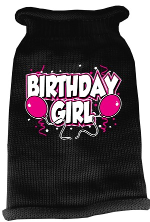 Birthday Girl Screen Print Knit Pet Sweater XS Black