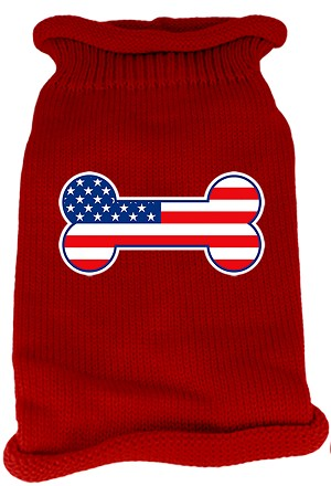 Bone Flag USA Screen Print Knit Pet Sweater XXL Red